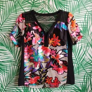 Nanette Lepore floral silk and mesh blouse